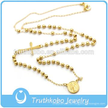 Schöne Religiöse Perlen Handmake Rosenkranz Halskette Rose Perlen und Kruzifix