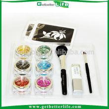Kit de glitter dentro fita rosa glitter temporária tatuagens, tatuagens temporárias de brilho de açúcar