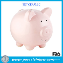 Boîte de pièce de monnaie de banque d'économie d'argent en céramique de beau porc rose