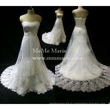 Elegante cariño sin tirantes rebordeado vestido de novia vestido de novia con Appliqued Lace BYB-14502
