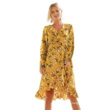 Elegant Casual Printed Long Sleeve Chiffon Dress
