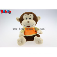 Plush Stuffed Baby Monkey Toy with Embroidery Smile Face and T-Shirt Bos1179