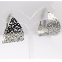 Edelstahl-hohle Blumen-breiter silberner Band-Ohrring für Frauen