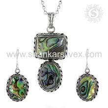 Joyería hermosa de la plata de la piedra preciosa de la cáscara fijada 925