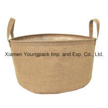 Fashion Small Jute Display Bucket Bag with Handles