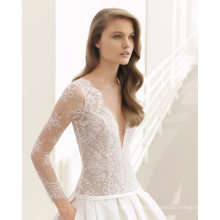 Deep V Neck Nude Lace Top Long Sleeves Wedding Dress