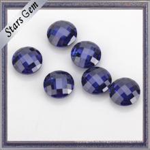Color azul AAA Grado 5mm Ronda doble Checker corte Cubic Zirconia para joyas de oro