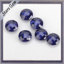Blue Color AAA Grade 5mm Round Double Checker Cut Cubic Zirconia for Golden Jewelry