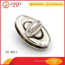 Bright nickle color oval shape ladies handbags lock parts M911