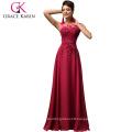 Grace Karin Long A-line Chiffon Sleeveless Women Formal Wine Red Prom Dress abendkleider CL007555-5