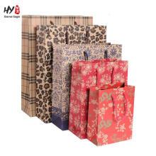 Kraft paper with custom print drawstring tote gift bag