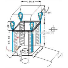 bolsa deflectora bolsa de 2 toneladas, fondo abierto con cuerda, dos bandas de elevación, tratamiento UV