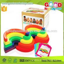 EZ1044 Brinquedo de brinquedos novos de madeira da cor do arco-íris da forma original