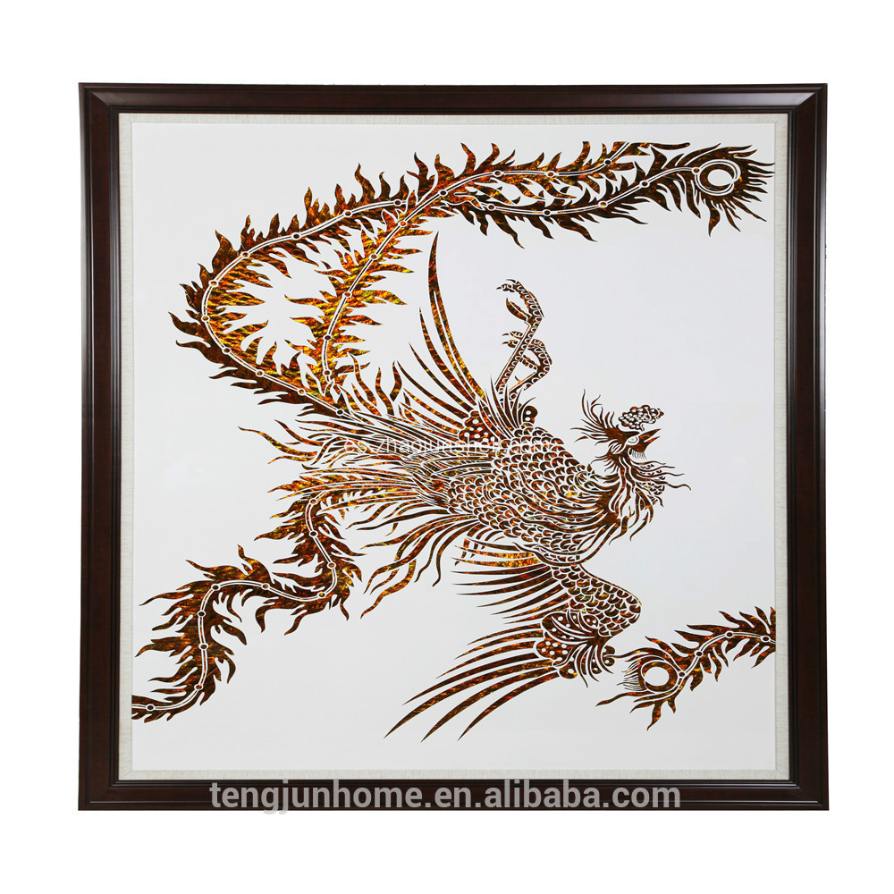 CANOSA Golden paua shell mano engarving phoenix la pared de imágenes