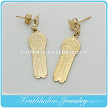 TKB-E112 New Fashion Wholesale Corrosion Pattern 316 Stainless Steel Jewelry Main Material Christian Mary Image Charm Earring