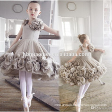 Rose flower decoration baby girl dance clothes above knee A line sleeveless baby flower girl dress hot sex photos