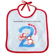 Custom Made Cotton String Closing White Embroidery Baby Bib