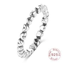 Bande d'anneau en argent sterling antique pour femmes (SRI0027-B)