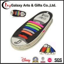 Nenhum laço liso elástico preguiçoso colorido dos laços das sapatilhas