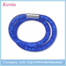 Bracelets à double stardust en maille de haute qualité avec pierres de cristal Bracelets magnétiques en fermoir