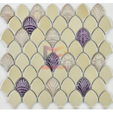 Glazed Cream Ceramic with Shell Pattern Mosaics (BK001)