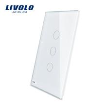 Livolo Luxe Blanc Perle Verre Cristal 125mm * 78mm Norme US Simple Panneau En Verre À Vendre Interrupteur Tactile Mural VL-C5-C3-11