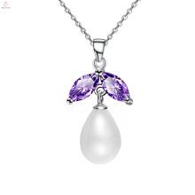 Modische Sterling Silber Kette Perle Anhänger Halskette