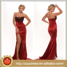 PS-13 Charming Applique Red Evening Party Gown with Seductive Side Slit Zipper Covered Low Back Mermaid Prom Dress for Party