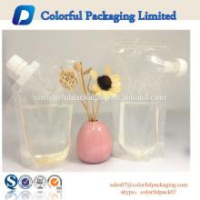 2015 Custom Made No Prinitng Transparente bebida líquido embalagem saco de plástico