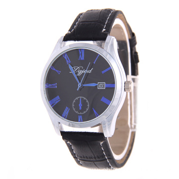Lasted fashion waterproof black leather watches