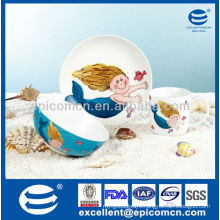 factory outlet 3pcs porcelain dinner gift set for children daily use with cartoon decoration