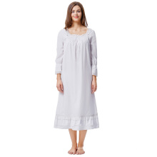 Kate Kasin Women Ladies Victorian Style Long Sleeve Square Neck 100%Cotton Nightgown Sleep Dress KK000467-1