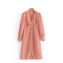 Nuevo vestido largo con botones delanteros y estampado digital para mujer