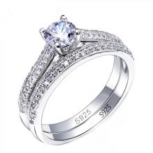 925 anillos de compromiso de plata CZ diamante conjunto