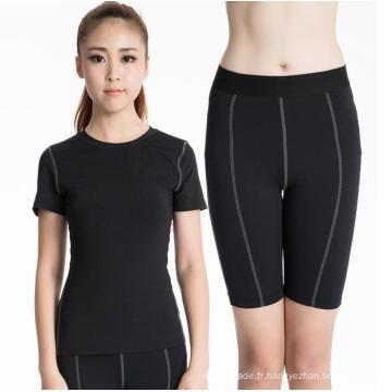 Fitness et Sports Workout Suit pour les femmes Leggings serrés à manches courtes