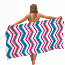 100% Polyester Quick Fast Dry Customized Digital Printed Stripe Absorbent Beach Towel for Spring, Summer, Autumn, Winter