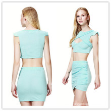 Blue Simple Two-Pieces Slimming Lady Fashion Summer Dress