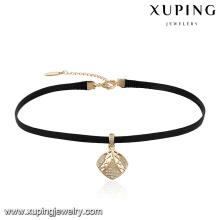 44057 gros mode femmes bijoux losange en forme de minuscule zircon en cuir collier ras de cou
