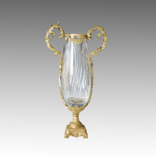 Estatua de jarrón de cristal Escultura de bronce de jarrón Tpgp-010 (J)