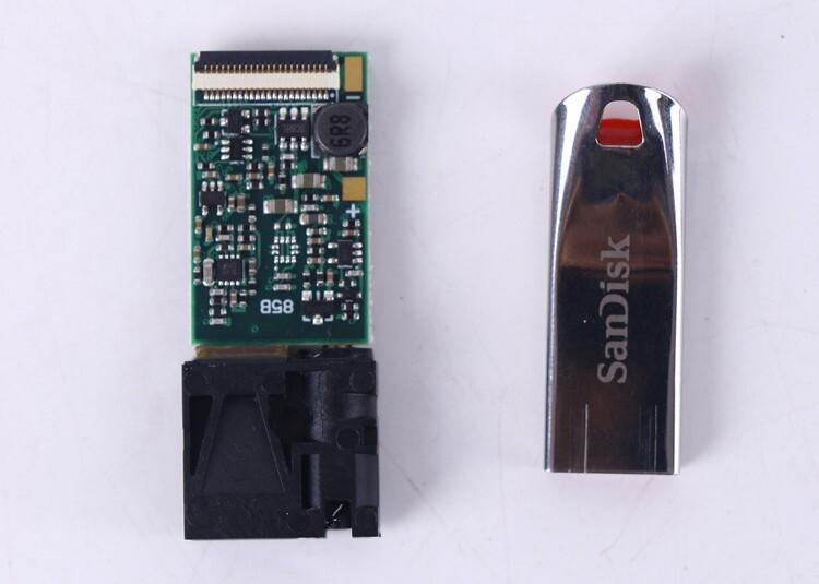 20m UART Laser Distance Sensors Size vs USB flash disk
