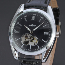 mininalist men watch with visible mechanism mechanical watch