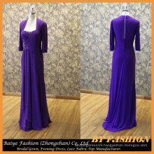Halfsleeve Chiffon Evening Dress Long Sleeve Mother Party Gown Grape Color BYE-14078