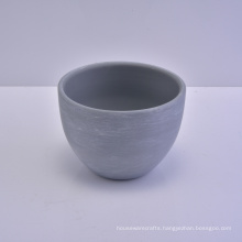 Matt Grey Cement Painted Ceramic Bowl for Candle Making