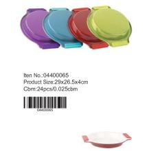 Fôrma redonda colorida com alça de silicone