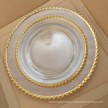 Elegant Events and Home Decoration Gold Beaded Glass Wedding Charge Plate