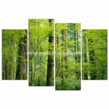 Impresión verde de la lona del bosque / arte de la impresión de la lona del grupo / arte natural de la pared del paisaje