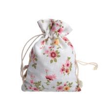 Wholesale custom design trend eco-friendly organic custom natural white cotton linen drawstring bag