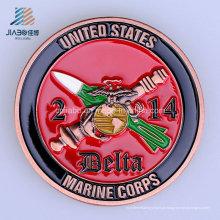 Moeda marinha do desafio do metal dos EUA do esmalte macio do costume 40mm para o presente da lembrança