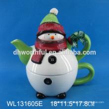 Tetera de cerámica de alta calidad con diseño de muñeco de nieve