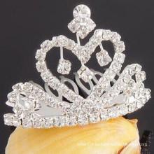 Los accesorios al por mayor del pelo platearon los suministros cristalinos de la barrette del pelo de la tiara de la plata